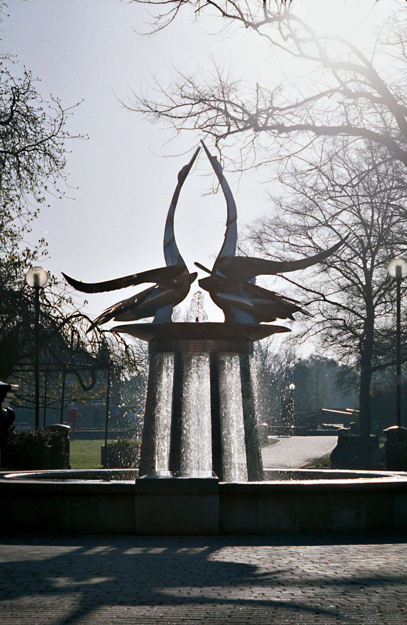 SWAN FOUNTAIN IN FRONT OF ROYAL SHAKESPEARE THEATRE